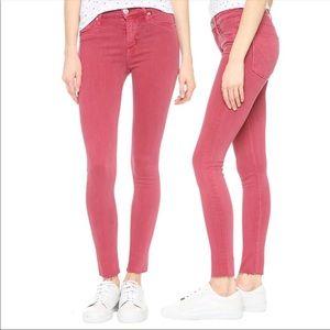 HUDSON Nico Midrise Ankle Raw Hem Pink Jeans